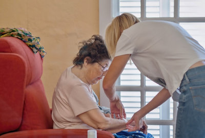 woman taking care of her patient